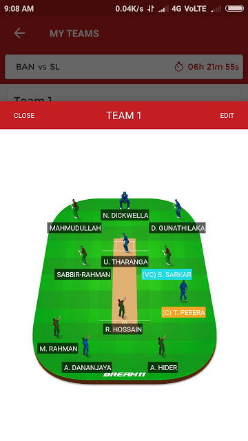 SL vs BAN, 1st T20I Match Dream11 Team