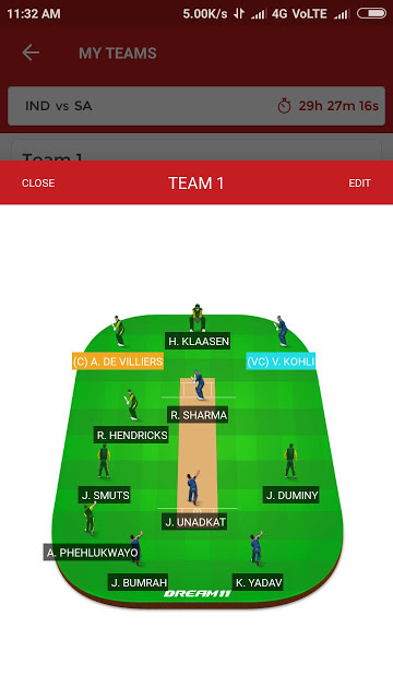 IND vs SA, 1st T20I Match Dream11 Team