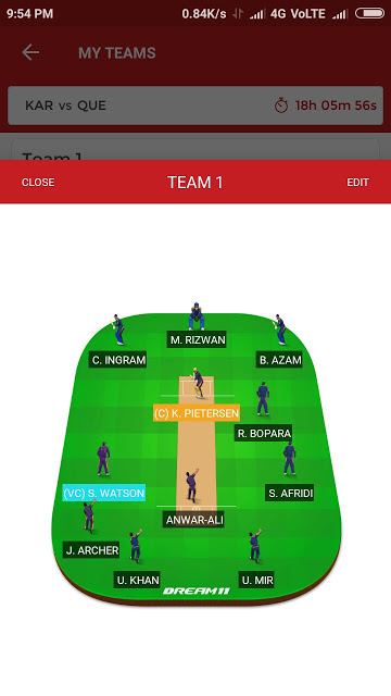 KAR vs QUE, 2nd Match Dream11 Expert Team