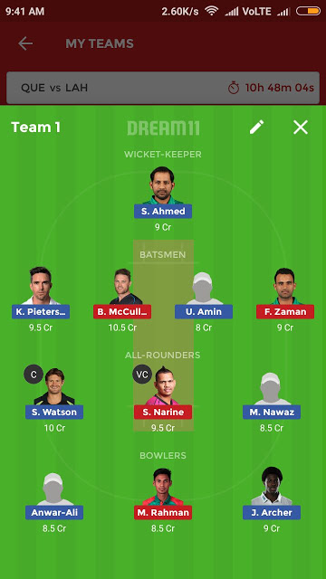 QUE vs LAH, 5th Match Dream11 Expert Team