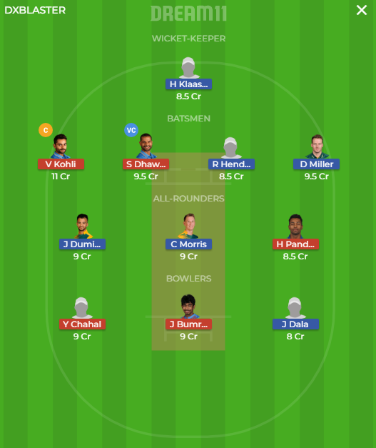 IND vs SA, 2nd T20I Match Dream11 Team
