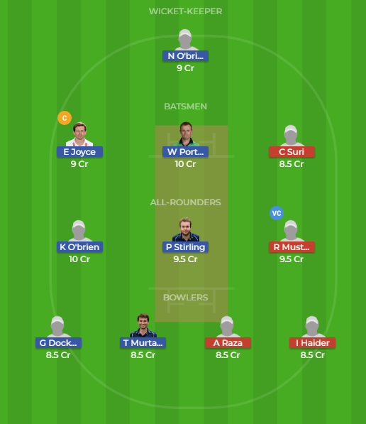 IRE vs UAE 18th Match Dream11 Team