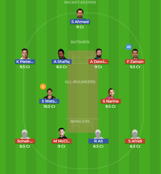 QUE vs LAH 26th Match Dream11 Team