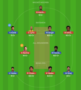 BLR vs KOL 29th Match Dream11 Team