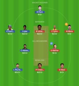 DEL vs KOL 26th Match Dream11 Team