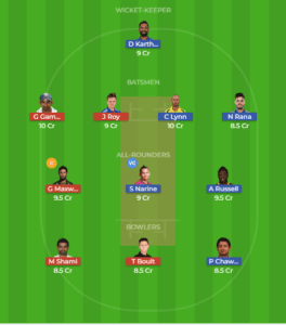 KOL vs DEL 13th Match Dream11 Team and Match Prediction