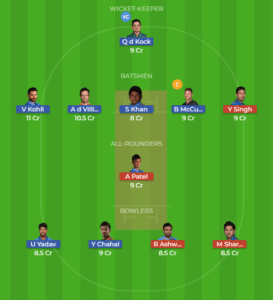 BLR vs PNJ 8th Match Grand League Team