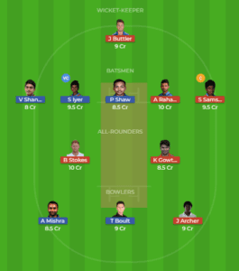 DEL vs RAJ 32nd Match Dream11 Team